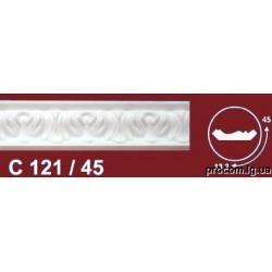 Плинтус потолочный Солид 2 м белый резной 121/45