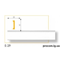 Плинтус потолочный Марбет Lux E-29 (2м) гладкий