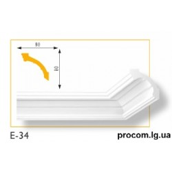 Плинтус потолочный Марбет Lux E-34 (2м) гладкий