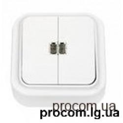 Выключатель 2-х клавишный наружный с подсветкой А510-215 Беларусь