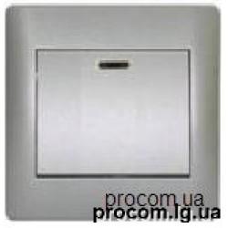 Выключатель 1-но клавишный с подсветкой серебро металик Oscar