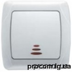 Выключатель 1-но клавишный c подсветкой белый Viko Carmen