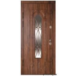 Дверь метал. ПК 139V правая 960мм Дуб тем (ковка+стекло)АКЦИ